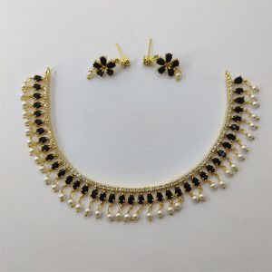 Black Necklace Combo with White Pearl