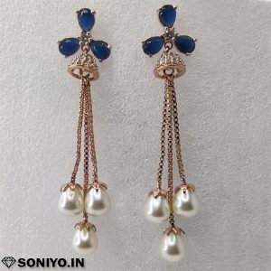 Blue Earrings with White pearl