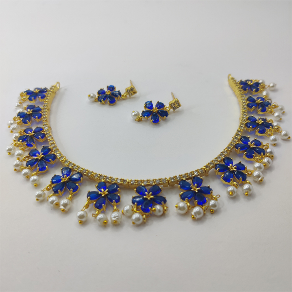 Well-formed Blue Clover Necklace Combo Set