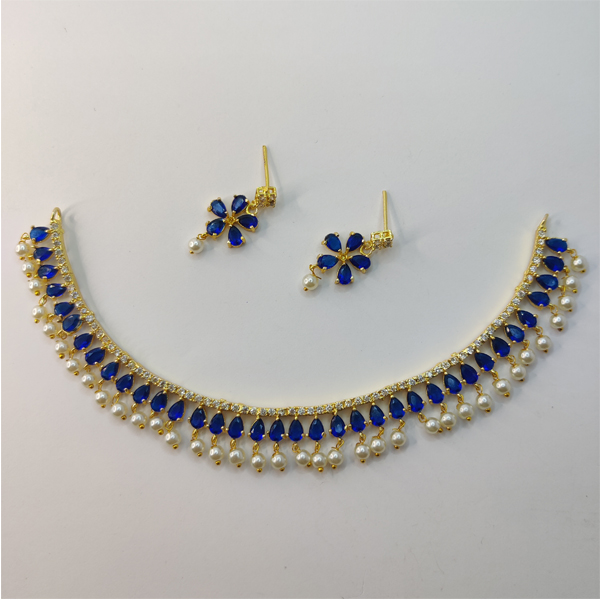 Blue Necklace Combo with White Pearl