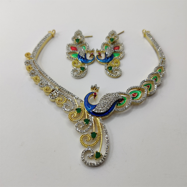 Beautiful Necklace Combo with Blue Peacock Design