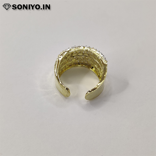 Golden and Silver lined American Diamond Ring