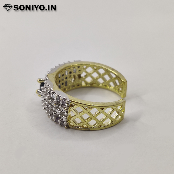 Silver and Golden ring with Black stone (AD)