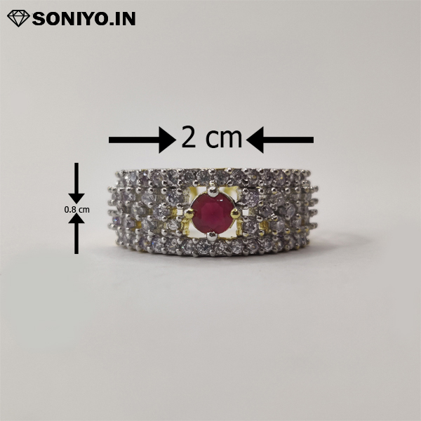 Golden and Silver American Diamond with Red Stone