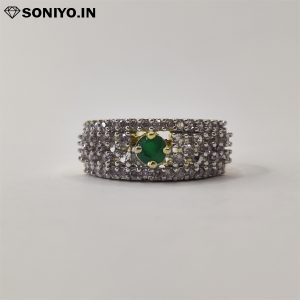 Golden and Silver ring with Green AD Stone