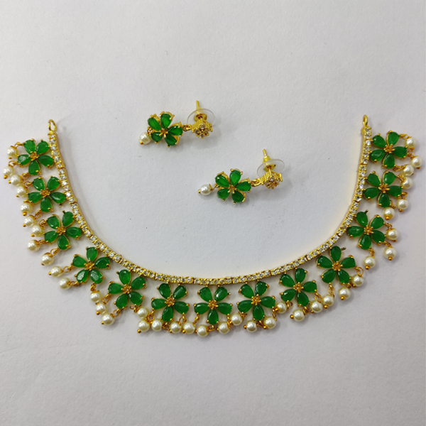Delightful Green Clover Necklace and Earring Combo - American Diamond