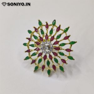 Green and Red Flower Ring