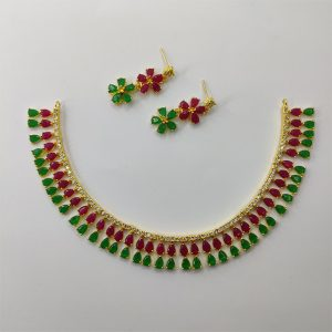 Classy Maroon and Green Necklace Combo Set