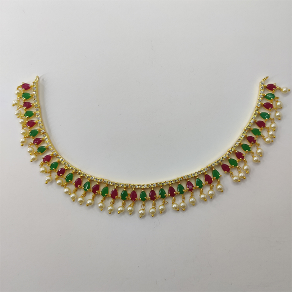 Maroon and Green Necklace Combo with Pearl