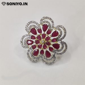 Red Flower Silver border AD ring