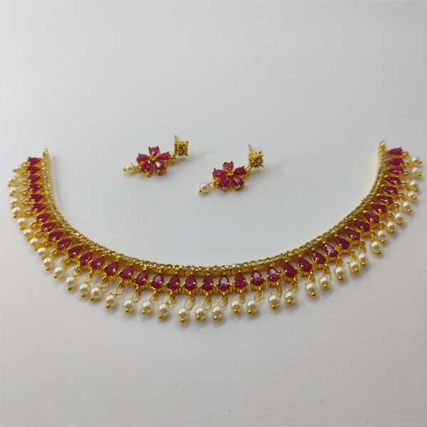 Golden Necklace Combo with Red Stone and White Pearl