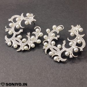 Silver Earring with Pearls (AD)