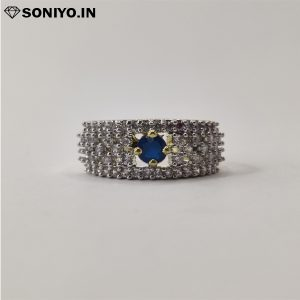 Golden and Silver ring with Blue Stone (AD)