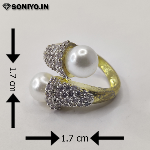 Silver ring with White Pearls (AD)