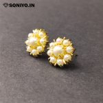Golden Flower Earrings with Silver Pearls (AD)