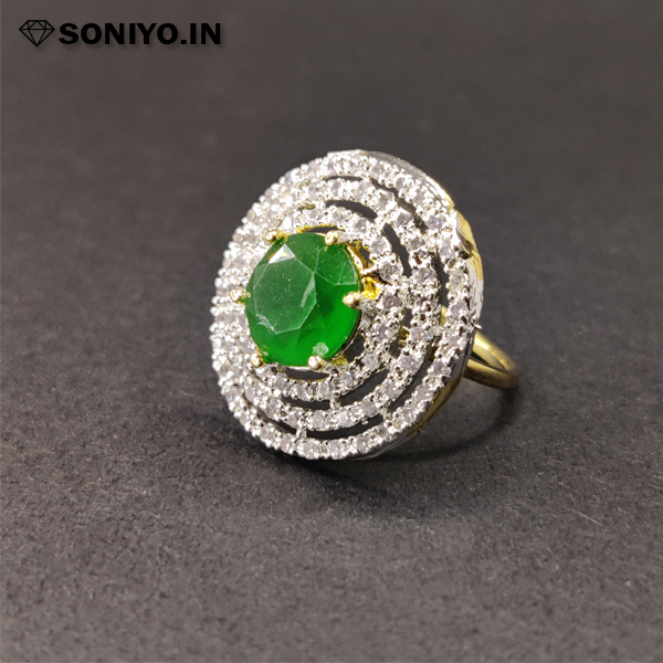 Silver Circle Ring with Gemstone in Middle