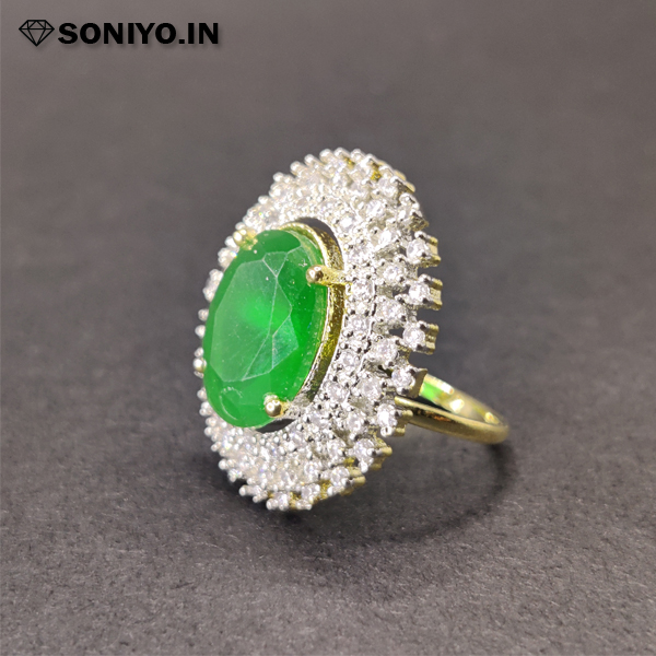 Silver Round Ring with Gemstone in Middle