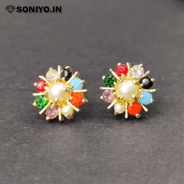 Multi-Color Earring with Silver Pearl (AD)