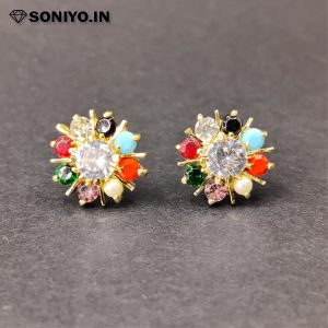 Multi-Color Earring with white Stone (AD)