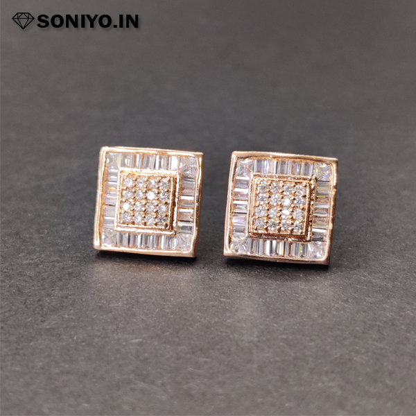 Rose Gold square shaped AD Earring