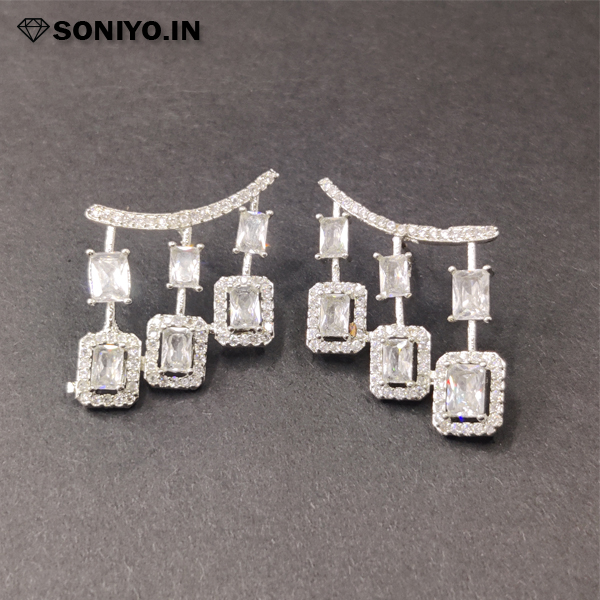 Silver Earring with White American Diamond