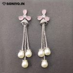 Silver Jumka with Pearls - Baby Pink