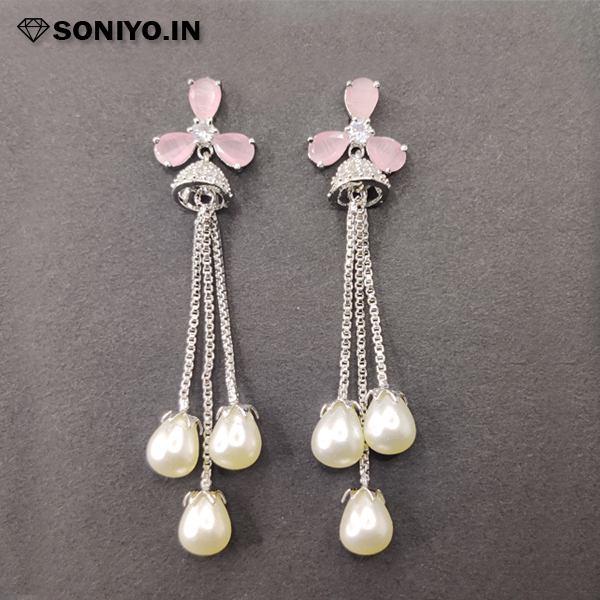 Silver Jhumka with Pearls