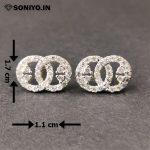 Silver Round Circle Earring (AD)