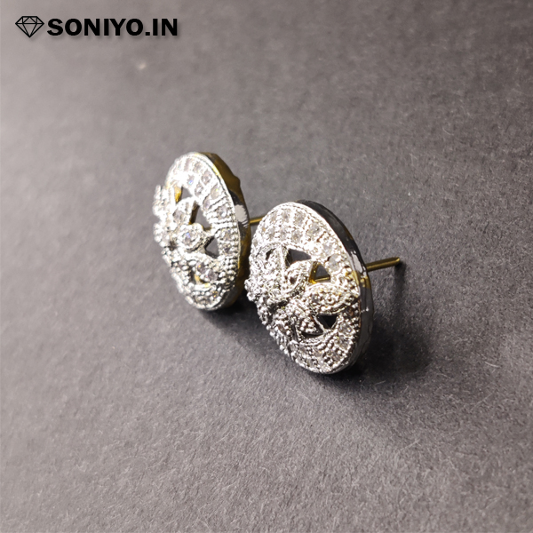 Golden and Silver Leaf Earring (AD)