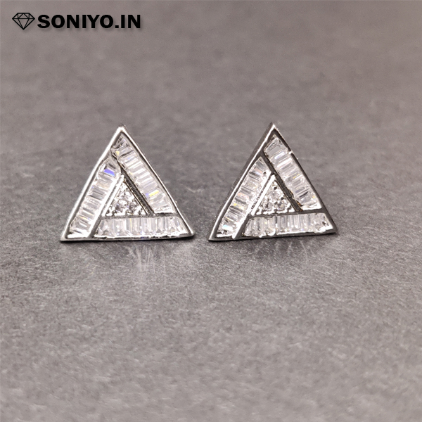 Silver Triangle shaped Earring (AD)