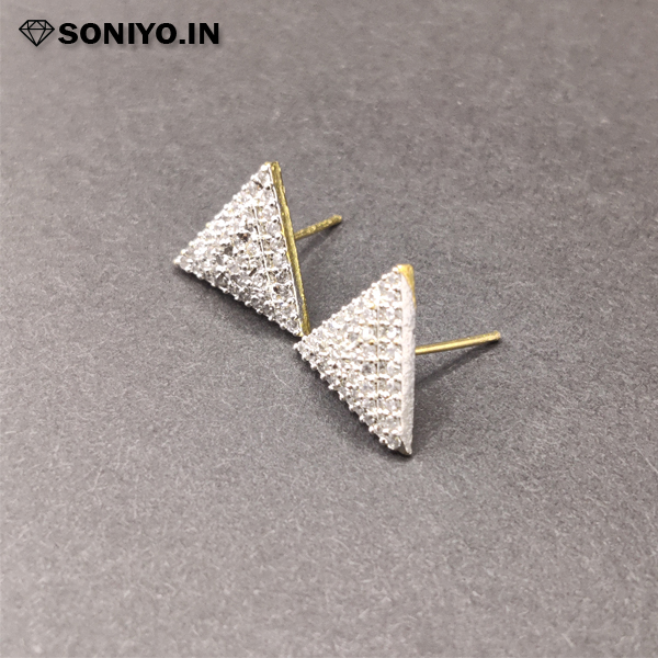 Silver Triangle shape Earring with white Diamonds
