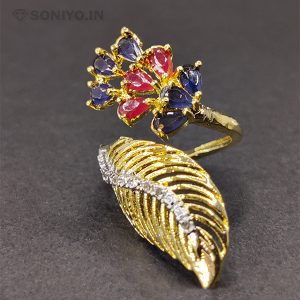 Blue and Pink Pearls Ring with Golden Leaf