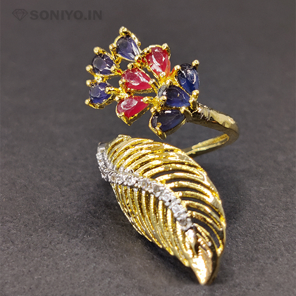 Blue and Pink Stones Ring with Golden Leaf