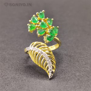 Citrine Pearls Ring with Golden Leaf
