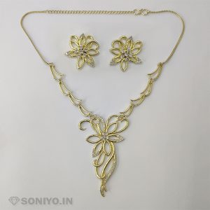 Golden Flower Necklace and Earring Combo