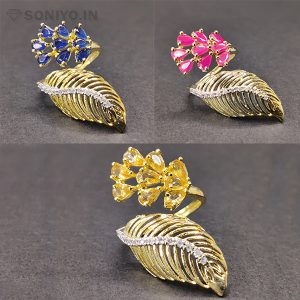 Golden Leaf Ring with Pearls
