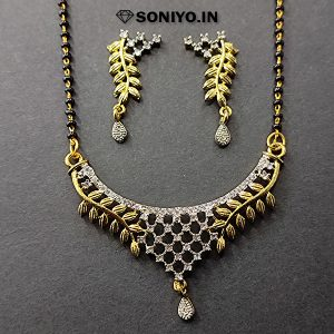 Golden Leaves Mangalsutra with White Stones