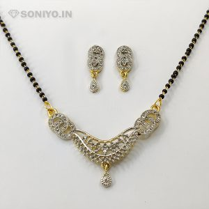 Golden and Silver Mangalsutra covered with White Stones