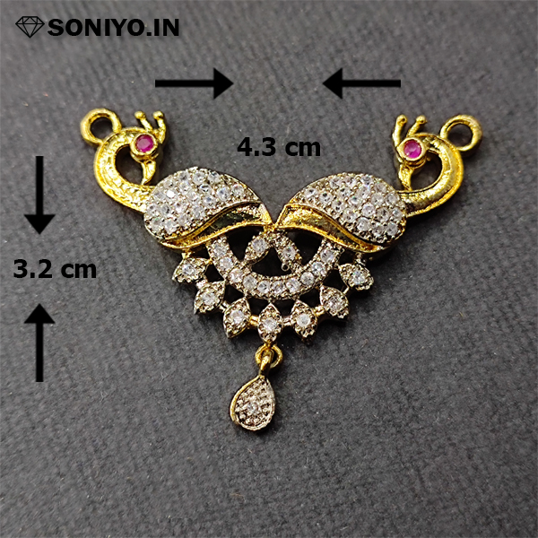 Golden Peacock Mangalsutra with White stones