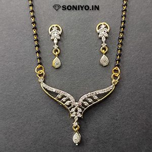 Leaf Design Mangalsutra covered with White Stones