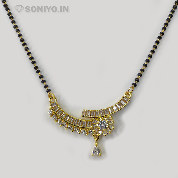 Golden Mangalsutra Flower with White Stone