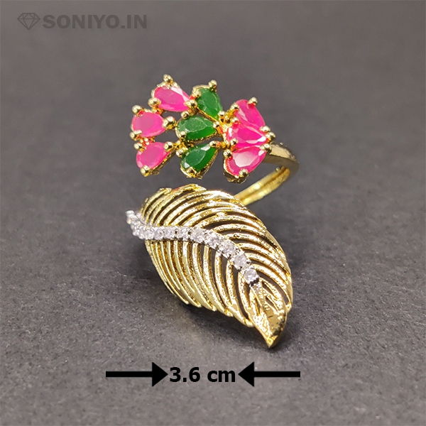 Pink and Green Pearl Ring with Golden Leaf