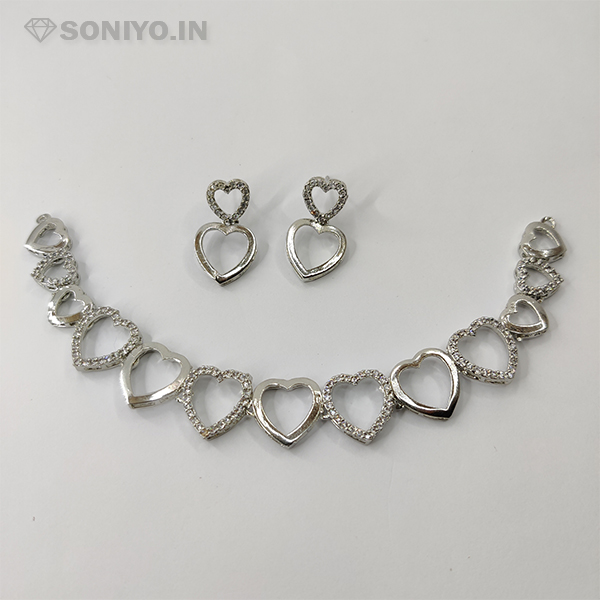 Silver Heart Necklace and Earring Combo