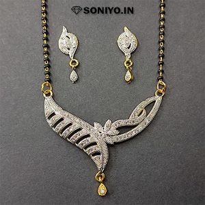 Silver Leaves Mangalsutra with White Stones