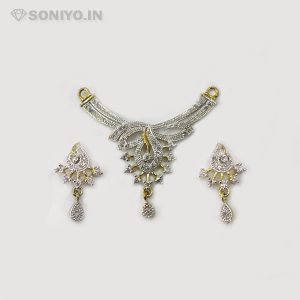 Silver Mangalsutra with Golden Curved Line