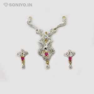 Silver Mangalsutra with Flower - Maroon