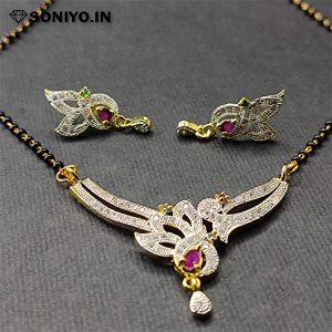 Silver Mangalsutra with White stones