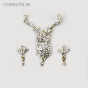 Silver Mangalsutra fully covered with White Stones