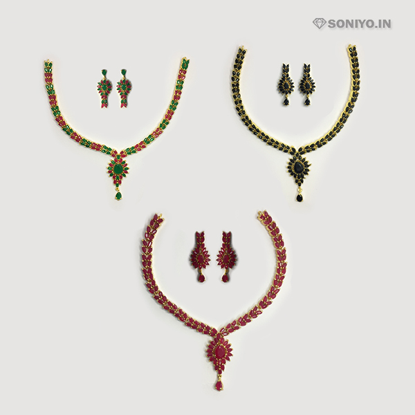 Golden Necklace and Earring Combo - AD
