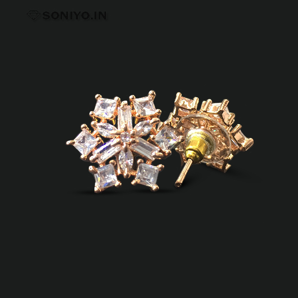 Star shaped Rose Gold Earring with AD Stones